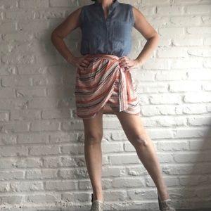 Greylin • NWT Mock Wrap Skirt Chambray Dress Small